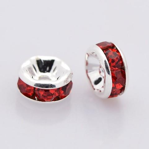 Рондель со стразами 8 мм платина - прямая обжимка красный