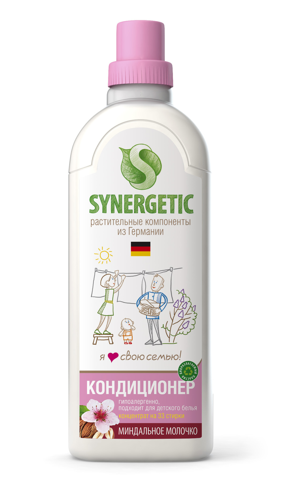 Кондиционер для белья Миндальное молочко (флакон 1 л) SYNERGETIC