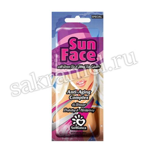 Крем SolBianca\Sun Face для лица с экстрактами черного и зеленого чая и бронзаторами 15 мл
