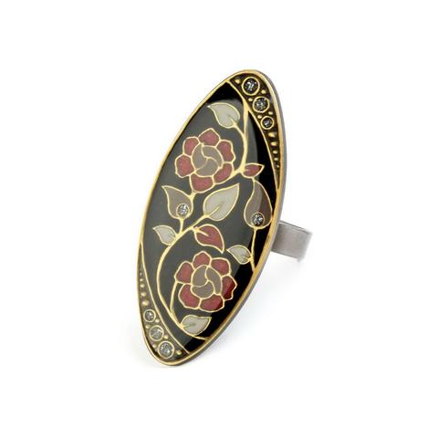 Кольцо Цветы K77115 BW