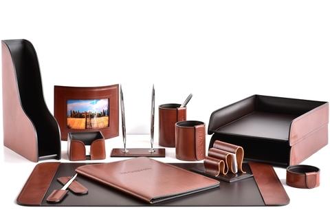 Письменный набор руководителя 13 предметов из кожи FG Tan/шоколад
