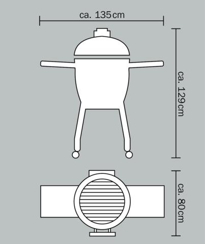 Керамический гриль Monolith Le Chef XL очень большой на колёсиках (черный)