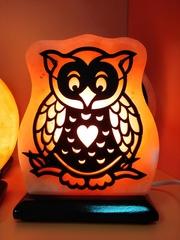 Солевая лампа Сова с сердцем 2-3кг