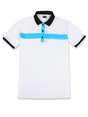 14055-8 поло мужское, бело-голубое