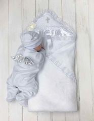 Комплект на крещение: Крыжма Бантик + велюровый человечек (серебро)