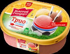 """Мороженое """"Золотой стандарт"""" пломбир трио ванильный, шоколадный, клубничный, 475 г"""