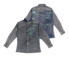 1072 рубашка джинсовая надписи