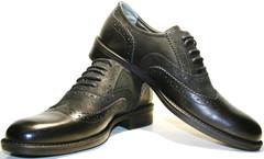 Туфли мужские  оксфорды броги. Кожаные черные туфли Pandew black