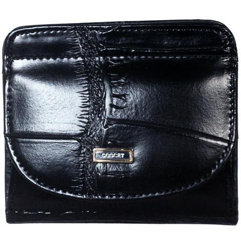 Маленький кошелёк чёрный женский Coscet нат.кожа CS25-109A