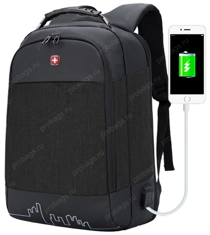 Рюкзак антивор  SWISSWIN 7008 USB Черный