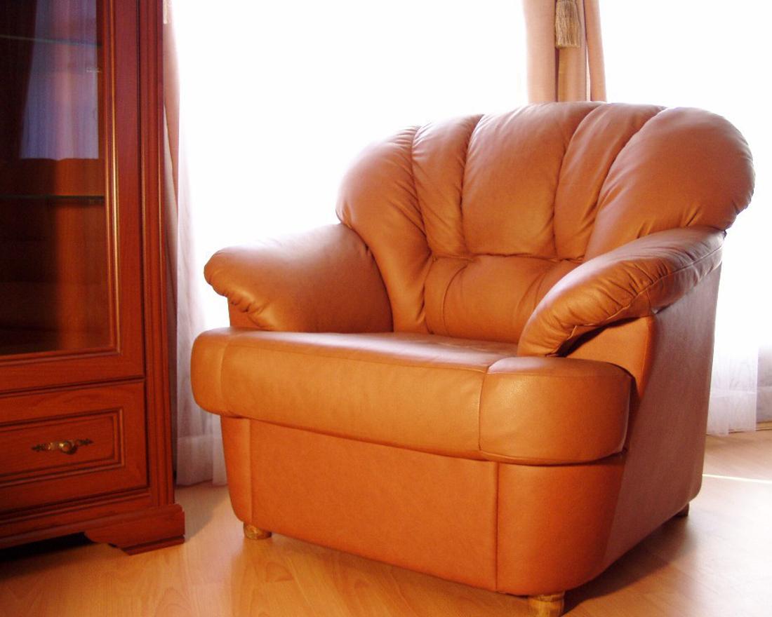 Кресло кожаное Калифорния в интерьере