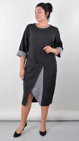 Либідь. Елегантна сукня для великих розмірів. Чорний.