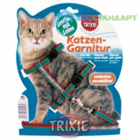 TRIXIE 4191 Шлейка д/кошек с вышивкой и поводком, нейлон 22-36см*10мм