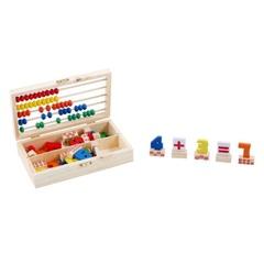 Счёты и цифры в деревянном сундучке, 74 элемента