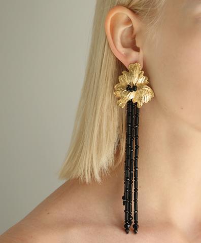 Серьги Flower с черными камнями