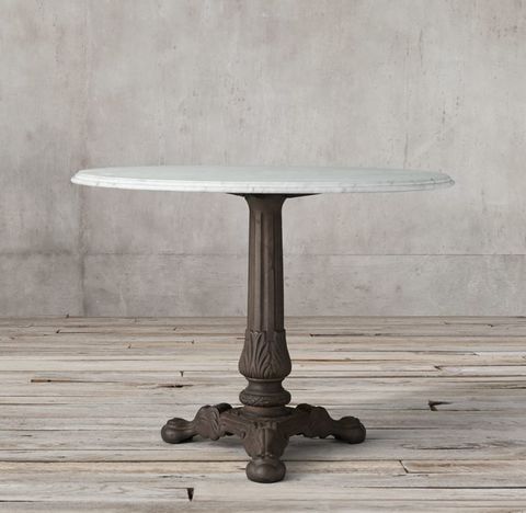 19th C. French Acanthus Brasserie Table With Marble Top
