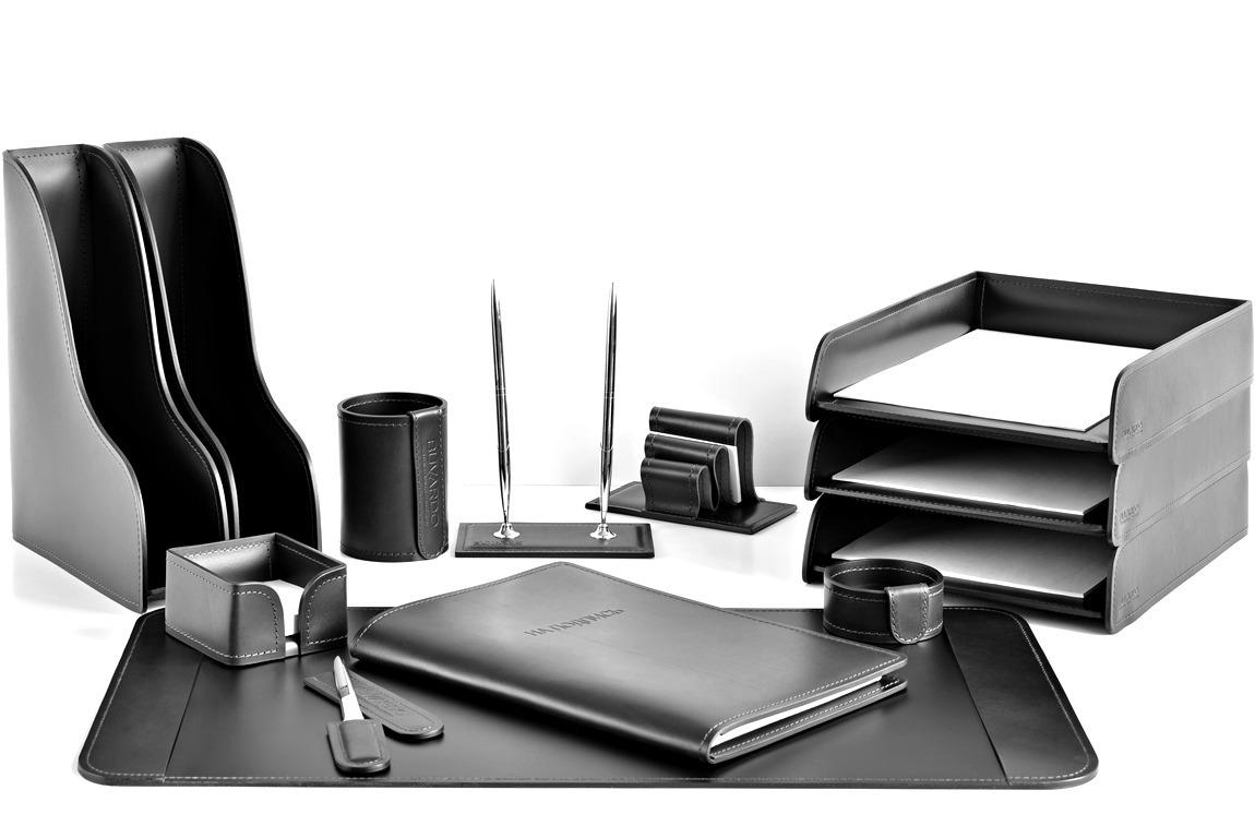 Письменный набор руководителя 13 предметов из кожи FG Black/черный buvardo