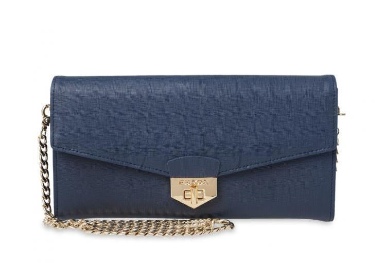 d4da03d48c7f Купить женский кожаный клатч Prada 9046 Blue