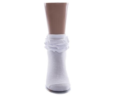 Носки детские с рюшками белые