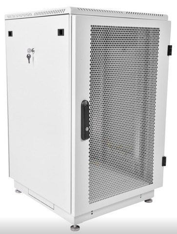 Шкаф телекоммуникационный напольный 22U (600 × 1000) дверь перфорированная 2 шт., цвет чёрный ЦМО ШТК-М-22.6.10-44АА-9005