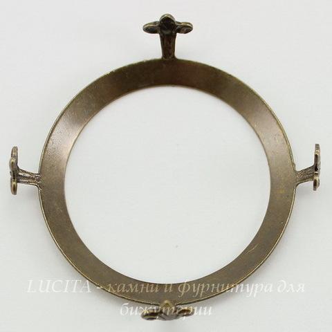 """Сеттинг - основа """"Черепашка"""" для камеи или кабошона 32 мм (оксид латуни)"""