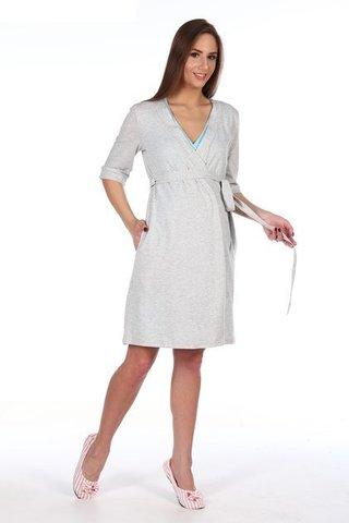 Мамаландия. Халат для беременных и кормящих на запах, светло-серый меланж