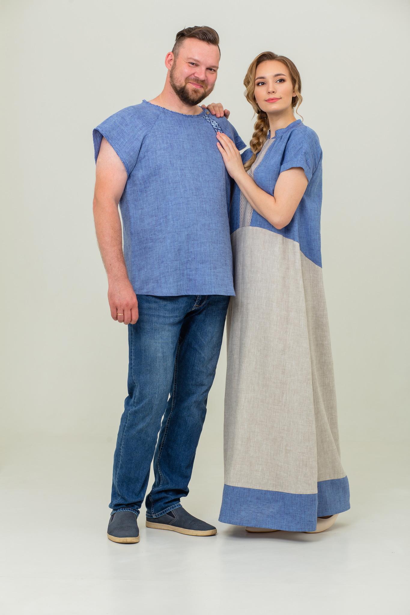 Платье Морской песок из льна и мужская футболка из льна