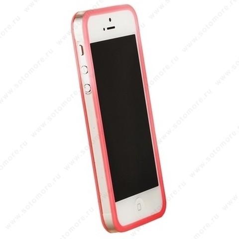 Бампер GRIFFIN для iPhone SE/ 5s/ 5C/ 5 розовый с прозрачной полосой