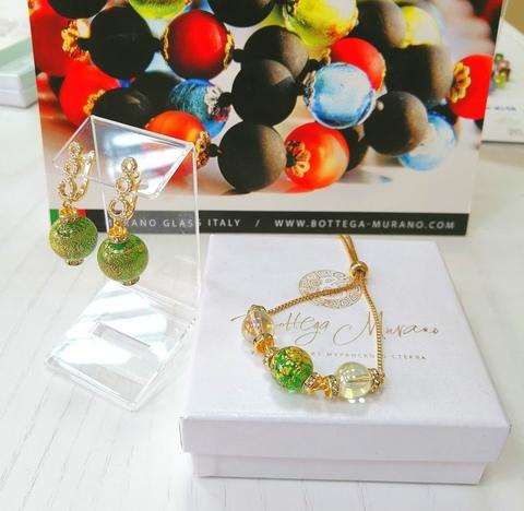 Комплект из браслета и серег со стразами Franchesca Ca'D'oro Medio золотисто-зеленый