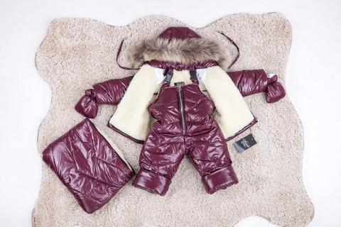 Зимний комбинезон тройка для новорожденных 0-2 года Look бордовый блеск
