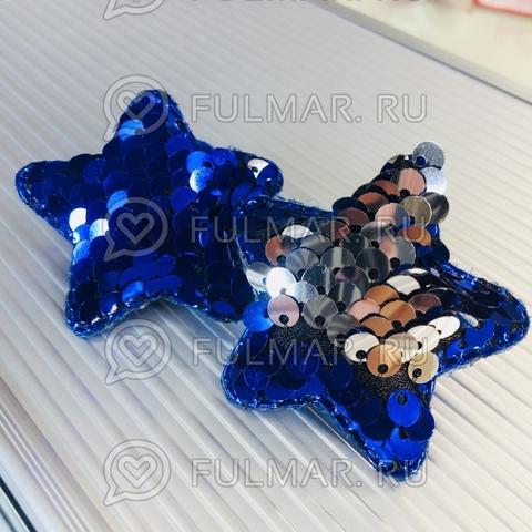 Набор резинки для волос с двусторонними пайетками меняют цвет Синий-Серебристый (2 шт.)