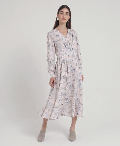 Розовое платье с драпировкой