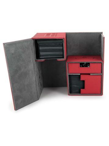 Ultimate Guard - Двойная кожаная красная коробочка с отделением для кубиков