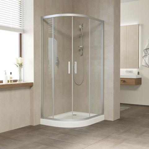 Душевой уголок Vegas Glass ZS-F профиль матовый хром, стекло прозрачное