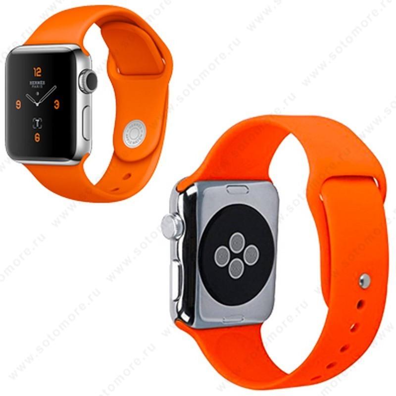 Ремешок для Apple Watch 38/ 40 mm силиконовый оранжевый