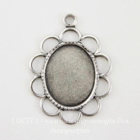 """Сеттинг - основа - подвеска """"Ажурный"""" для камеи или кабошона 10х8 мм (оксид серебра)"""
