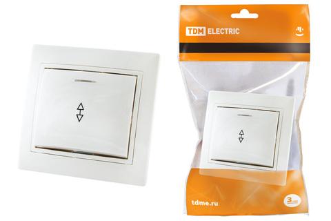 Выключатель на 2 направления 1 кл. с подсветкой 10А белый