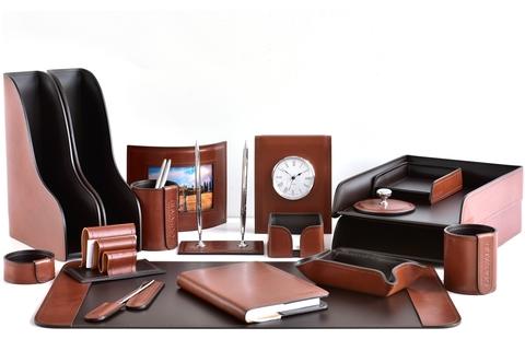 Premium органайзер настольный 18 предметов из кожи Full Grain Toscana Tan/шоколад