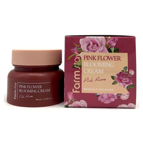 Farmstay Pink Flower Blooming Cream Pink Rose - Крем для лица с экстрактом розы