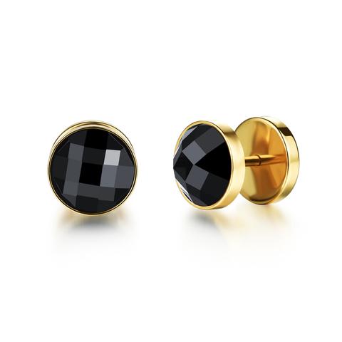 Серьги гвоздики с чёрным камнем Steelman 87995