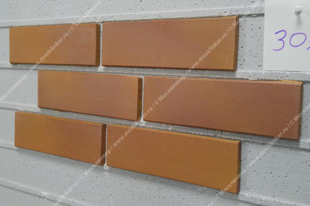 Stroeher, фасадная клинкерная плитка, цвет 307 weizengelb, серия Keravette, unglasiert, неглазурованная, гладкая, 240x71x11