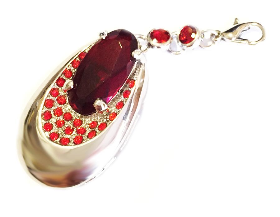 usb-флешка кулон серебро красный рубин