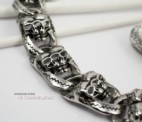 BM297 Внушительный браслет с черепами (20 см)