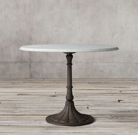 20th C. Chrysanthemum Brasserie Table With Marble Top
