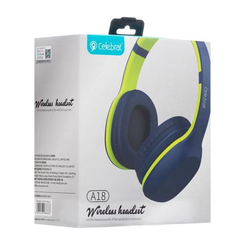 Наушники Bluetooth Celebrat A18, blue-green