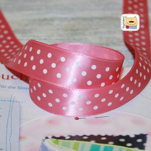 Лента атласная 25мм (розовая в горошек)  ЛАГ25-18 (90см)