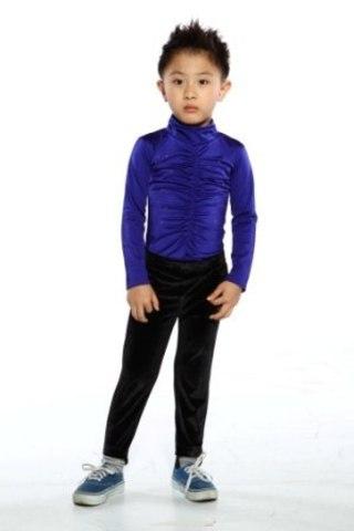 Боди для выступлений на мальчика, рост 134 (синий, стразы)