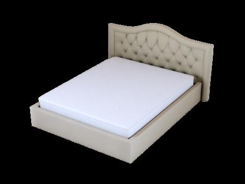 Мягкая двуспальная кровать Амстердам в рамке с мягким изголовьем и подъемным механизмом