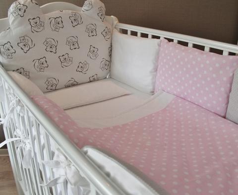 Комплект в кроватку Teddy pink, на 4 стороны кроватки