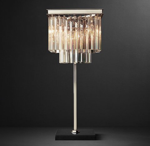 1920S Odeon Clear Glass Fringe Square Table Lamp
